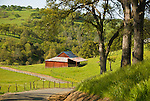 Red barn in the green hills during springtime in rural Amador County, Calif.