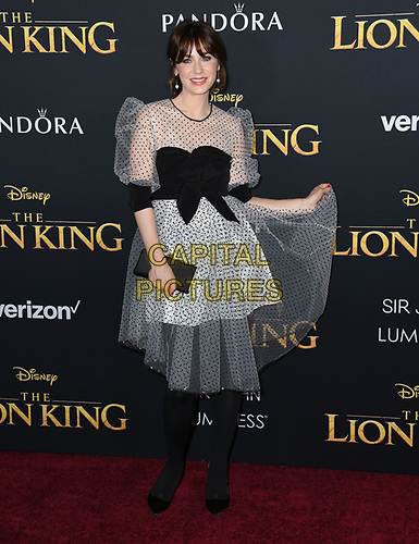 "09 July 2019 - Hollywood, California - Zooey Deschanel. Disney's ""The Lion King"" Los Angeles Premiere held at Dolby Theatre. <br /> CAP/ADM/BT<br /> ©BT/ADM/Capital Pictures"