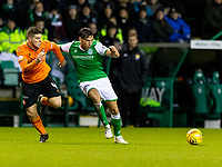 28th January 2020; Easter Road, Edinburgh, Scotland; Scottish Cup replay, Football, Hibernian versus Dundee United; Powers of Dundee and Joe Newell of Hibernian compete for possession of the ball