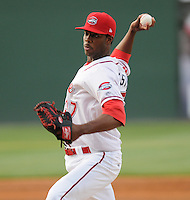 Pitcher Miguel Celestino (37) of the Greenville Drive, Class A affiliate of the Boston Red Sox, in a game against the Charleston RiverDogs on April 11, 2011, at Fluor Field at the West End in Greenville, S.C. Photo by Tom Priddy / Four Seam Images