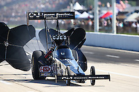 Apr 25, 2015; Baytown, TX, USA; NHRA top fuel driver Dave Connolly during qualifying for the Spring Nationals at Royal Purple Raceway. Mandatory Credit: Mark J. Rebilas-
