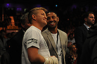 Kell Brook and Bradley Saunders share a joke at ringside - Boxing at the Metro Radio Arena, Newcastle, promoted by Matchroom Sports - 04/04/15 - MANDATORY CREDIT: Steven White/TGSPHOTO - Self billing applies where appropriate - contact@tgsphoto.co.uk - NO UNPAID USE