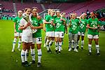 01.05.2019, RheinEnergie Stadion , Köln, GER, DFB Pokalfinale der Frauen, VfL Wolfsburg vs SC Freiburg, DFB REGULATIONS PROHIBIT ANY USE OF PHOTOGRAPHS AS IMAGE SEQUENCES AND/OR QUASI-VIDEO<br /> <br /> im Bild | picture shows:<br /> Anna Blaesse (VfL Wolfsburg #9) und Sara Doorsoun (VfL Wolfsburg #23) jubeln mit dem Team un dem Pokal in der Hand, <br /> <br /> Foto © nordphoto / Rauch