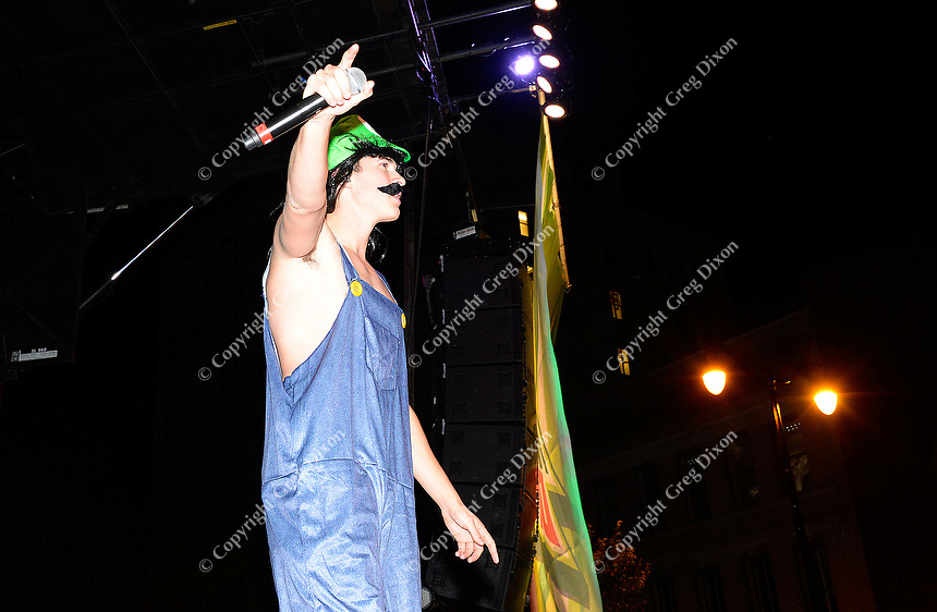 Cal Shapiro of Timeflies entertains the Freak Fest crowd Saturday night during Freakfest 2015 on State Street in Madison, Wisconsin