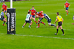 Munster's Man of the Match CJ Stander in action as he puts the head down and makes ground before moments before Billy Holland drives over the line for Munsters 1st try against Connacht on Saturday night in Thomond Park.  Munster 42 Connacht 20.