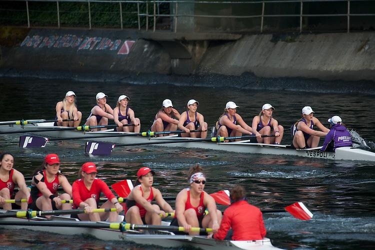 Rowing, Seattle, The Husky Open, April 4 2015, rowing regatta, Montlake Cut, University of Portland, Seattle University, (foreground), Womens Varsity eight, College W V8, crew, Washington State,