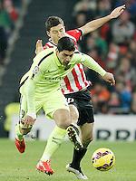 Atletic de Bilbao's Oscar de Marcos (l) and FC Barcelona's Luis Suarez during La Liga match.February 8,2015. (ALTERPHOTOS/Acero) /NORTEphoto.com