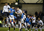 No joy for Darren McGregor as he is crowded out by Raith defenders
