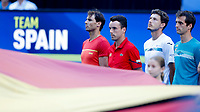 6th January 2020; RAC Arena, Perth, Western Australia; ATP Cup Australia, Perth, Day 4; Spain versus Uruguay; team Spain members line up for the National Anthems - Editorial Use