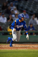 Rancho Cucamonga Quakes right fielder Saige Jenco (9) starts down the first base line during a California League game against the Stockton Ports at Banner Island Ballpark on May 16, 2018 in Stockton, California. Rancho Cucamonga defeated Stockton 6-3. (Zachary Lucy/Four Seam Images)