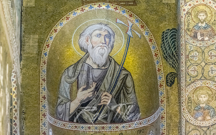 Europe, Italy, Sicily, Palermo, Palatine Chapel Mosaic Mural of St. Andrew commissioned by Norman King Roger II and completed in the 12th Century