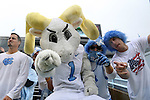 26 September 2015: UNC fans pose with the school mascot Rameses. The University of North Carolina Tar Heels hosted the University of Delaware Blue Hens at Kenan Memorial Stadium in Chapel Hill, North Carolina in a 2015 NCAA Division I College Football game. UNC won the game 41-14.