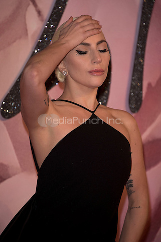 Lady Gaga (Stefani Joanne Angelina Germanotta)<br /> The Fashion Awards 2016 , arrivals at the Royal Albert Hall, London, England on December 05 2016.<br /> CAP/PL<br /> &copy;Phil Loftus/Capital Pictures /MediaPunch ***NORTH AND SOUTH AMERICAS ONLY***