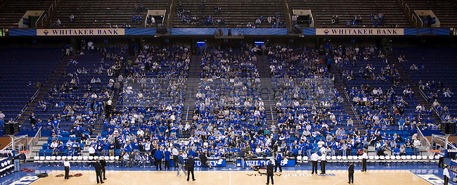 Fans crowd the stands after UK's 101-70 win over Arkansas to listen to University of Kentucky men's basketball head coach John Calipari talk during a post-game radio show on Saturday, Jan. 23, 2010 in Rupp Arena...Photo by Ed Matthews | Staff