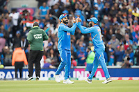 All smiles - Virat Kolli (India) and Ravindra Jadeja (India) at the conclusion of the match during India vs Australia, ICC World Cup Cricket at The Oval on 9th June 2019