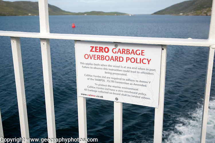 Zero Garbage Overboard Policy sign on Caledonian Mcbrayne ferry Scotland, UK
