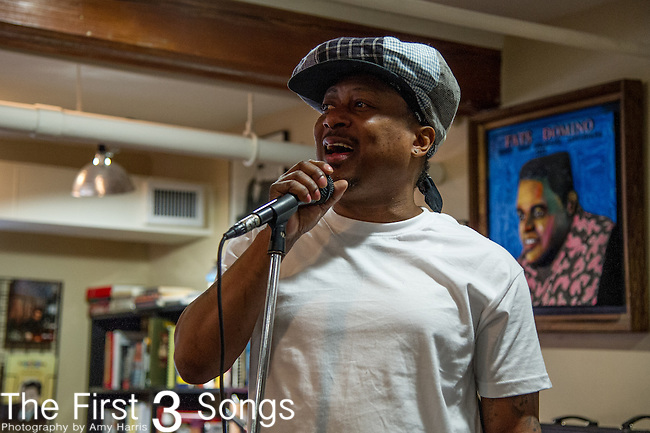 Kermit Ruffins performs at the Louisiana Music Factory in New Orleans, LA.