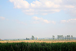 Broadland landscape flat land big sky and windmill near Reedham, Norfolk, England