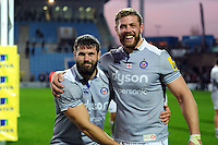 Guy Mercer and Dave Attwood of Bath Rugby pose for a photo after the match. Aviva Premiership match, between Exeter Chiefs and Bath Rugby on October 30, 2016 at Sandy Park in Exeter, England. Photo by: Patrick Khachfe / Onside Images