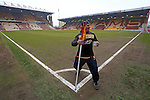 A Bradford staff member in jovial spirits poses with the corner flag and his coffee mug - Bradford City vs. Sunderland - FA Cup Fifth Round - Valley Parade - Bradford - 15/02/2015 Pic Philip Oldham/Sportimage