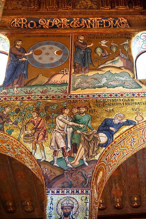Byzantine mosaics at the Palatine Chapel ( Capella Palatina ) Norman Palace Palermo, Sicily, It