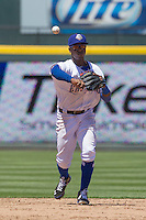 Round Rock shortstop Jurickson Profar (10) makes a throw to first base against the Nashville Sounds in the Pacific Coast League baseball game on May 5, 2013 at the Dell Diamond in Round Rock, Texas. Round Rock defeated Nashville 5-1. (Andrew Woolley/Four Seam Images).