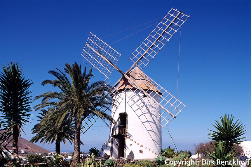 Museo Agricola bei Tiagua, Windmühle, Lanzarote, kanarische Inseln, Spanien