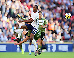 Tottenham's Kyle Walker-Peters tussles with Juventus Gonzalo Higuain during the pre season match at Wembley Stadium, London. Picture date 5th August 2017. Picture credit should read: David Klein/Sportimage