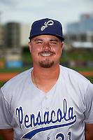 Pensacola Blue Wahoos pitcher Nick Travieso (21) poses for a photo after a game against the Birmingham Barons on May 2, 2016 at Regions Field in Birmingham, Alabama.  Pensacola defeated Birmingham 6-3.  (Mike Janes/Four Seam Images)