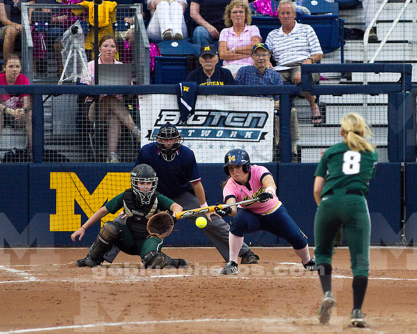 University of Michigan women's softball 8-0 victory (six innings) over Michigan State at Alumni Field in Ann Arbor, MI, on May 13, 2011.