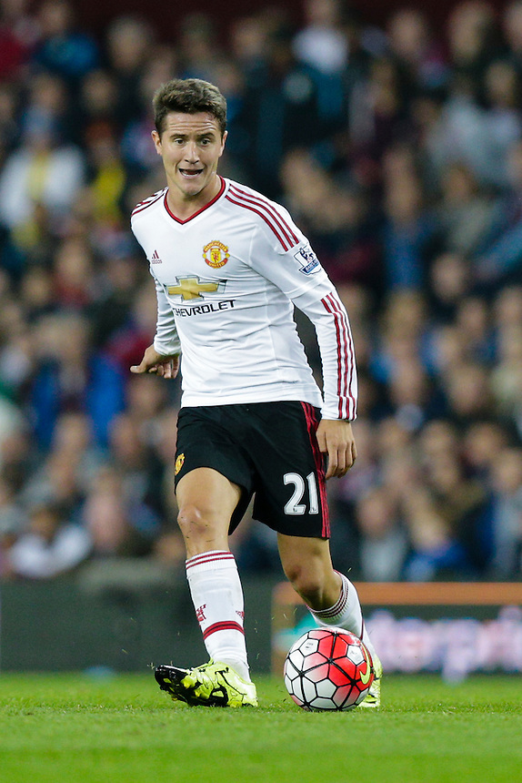 Manchester United's Ander Herrera in action during todays match  <br /> <br /> Photographer Craig Mercer/CameraSport<br /> <br /> Football - Barclays Premiership - Aston Villa v Manchester United - Friday 14th August 2015 - Villa Park - Birmingham<br /> <br /> &copy; CameraSport - 43 Linden Ave. Countesthorpe. Leicester. England. LE8 5PG - Tel: +44 (0) 116 277 4147 - admin@camerasport.com - www.camerasport.com