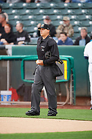 Home plate umpire John Bostwick handles the calls behind the plate during the game between the Salt Lake Bees and the Albuquerque Isotopes at Smith's Ballpark on April 5, 2018 in Salt Lake City, Utah. Salt Lake defeated Albuquerque 9-3. (Stephen Smith/Four Seam Images)