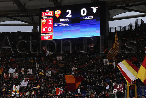 13.03.2011 Francesco Totti scored a free-kick and a penalty to win the Rome derby as Stefan Radu and Cristian Ledesma saw red for Lazio. Picture shows stadium detail.