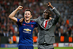 Ander Herrera of Manchester United celebrates with Eric Bailly after the UEFA Europa League Final match at the Friends Arena, Stockholm. Picture date: May 24th, 2017.Picture credit should read: Matt McNulty/Sportimage