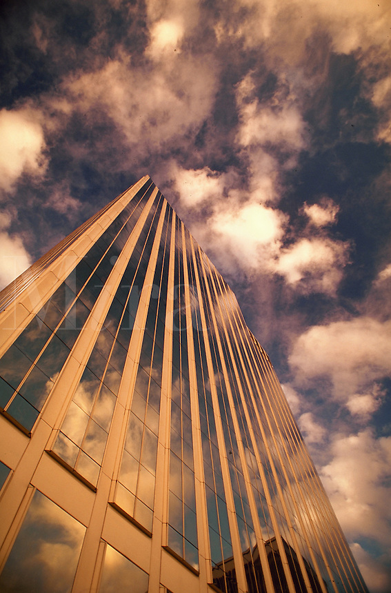 Reflection of clouds in Lloyd Tower glass, Portland, Oregon