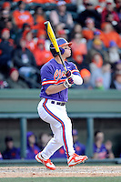 First baseman Andrew Cox (6) of the Clemson Tigers bats in the Reedy River Rivalry game against the South Carolina Gamecocks on Saturday, February 28, 2015, at Fluor Field at the West End in Greenville, South Carolina. South Carolina won, 4-1. (Tom Priddy/Four Seam Images)