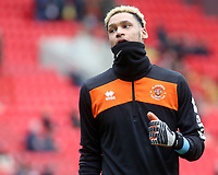 Blackpool's Myles Boney during the pre-match warm-up<br /> <br /> Photographer David Shipman/CameraSport<br /> <br /> The EFL Sky Bet League One - Charlton Athletic v Blackpool - Saturday 16th February 2019 - The Valley - London<br /> <br /> World Copyright © 2019 CameraSport. All rights reserved. 43 Linden Ave. Countesthorpe. Leicester. England. LE8 5PG - Tel: +44 (0) 116 277 4147 - admin@camerasport.com - www.camerasport.com