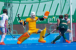 Krefeld, Germany, May 19: During the Final4 Gold Medal fieldhockey match between Uhlenhorst Muelheim and Mannheimer HC on May 19, 2019 at Gerd-Wellen Hockeyanlage in Krefeld, Germany. (worldsportpics Copyright Dirk Markgraf) *** Lukas Stumpf #4 of Mannheimer HC