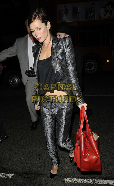 Anna Friel.Tara Smith Vegan Haircare launch party at Sketch, London, England..September 26th 2012.full length black grey gray blazer jacket top trousers suit cropped red bag purse   .CAP/CAN.©Can Nguyen/Capital Pictures.