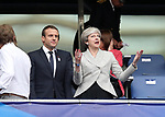 France's Emmanuel Macron with England's Prime Minister Theresa May during the Friendly match at Stade De France Stadium, Paris Picture date 13th June 2017. Picture credit should read: David Klein/Sportimage