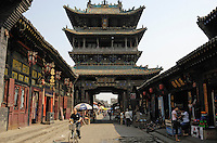 A tower of Chinese traditional architecture in Pingyao Ancient City in Shanxi, China. Being one of the four wholly-protected ancient cities in China, Pingyao Ancient City is thought of as the 'treasure house' of ancient Chinese architectures..05 Jun 2007.