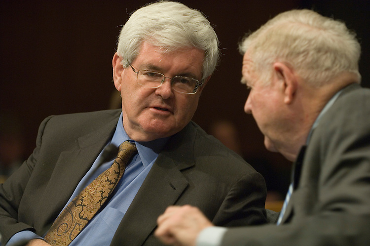 """Former House Speaker Newt Gingrich, R-Ga. and John Murtha, D-Pa.; talk during the full committee hearing on """"Iraq: Alternative Plans Continued - Session 3 - Federalism, Side with the Majority, Strategic Redeployment, Negotiate."""".. ."""