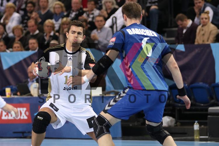 Kiel, 95.02.15, Sport, Handball, Champions League, Gruppenphase, THW Kiel - HC Meshkov Brest : Maxim Babichev (HC Meshkov Brest, #6), Rasmus Lauge (THW Kiel, #19)<br /> <br /> Foto &copy; P-I-X.org *** Foto ist honorarpflichtig! *** Auf Anfrage in hoeherer Qualitaet/Aufloesung. Belegexemplar erbeten. Veroeffentlichung ausschliesslich fuer journalistisch-publizistische Zwecke. For editorial use only.