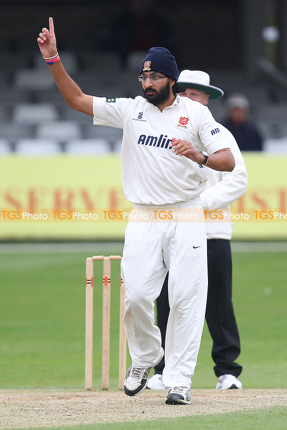 Monty Panesar of Essex celebrates the wicket of Fabian Cowdrey - Essex CCC vs Kent CCC - Pre-Season Friendly Cricket Match at the Essex County Ground, Chelmsford - 04/04/14 - MANDATORY CREDIT: Gavin Ellis/TGSPHOTO - Self billing applies where appropriate - 0845 094 6026 - contact@tgsphoto.co.uk - NO UNPAID USE
