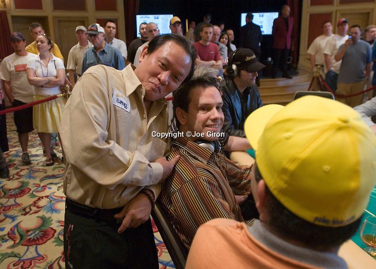 """Men """"The Master""""Nguyen mugs for the camera with Chad Brown"""