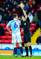 Referee Darren England shows Blackburn Rovers' Richie Smallwood the yellow card<br /> <br /> Photographer Alex Dodd/CameraSport<br /> <br /> The EFL Sky Bet Championship - Blackburn Rovers v Norwich City - Saturday 22nd December 2018 - Ewood Park - Blackburn<br /> <br /> World Copyright © 2018 CameraSport. All rights reserved. 43 Linden Ave. Countesthorpe. Leicester. England. LE8 5PG - Tel: +44 (0) 116 277 4147 - admin@camerasport.com - www.camerasport.com