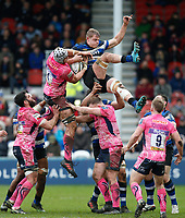 Toby Salmon of Exeter Chiefs and Tom Ellis of Bath Rugby compete for the ball at a lineout. Anglo-Welsh Cup Final, between Bath Rugby and Exeter Chiefs on March 30, 2018 at Kingsholm Stadium in Gloucester, England. Photo by: Matt Impey / Wired Photos for Onside Images