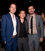 """LOS ANGELES - JULY 08: (L-R) Co-Creator/Showrunner/Executive Producer/Writer Dave Andron, Executive Producer/Writer Leonard Chang and cast member Carter Hudson attend the Red Carpet Event for FX's """"Snowfall"""" Season Three Premiere Screening at USC Bovard Auditorium on July 8, 2019 in Los Angeles, California. (Photo by Frank Micelotta/PictureGroup)"""
