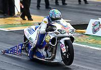 May 19, 2014; Commerce, GA, USA; NHRA pro stock motorcycle rider Adam Arana during the Southern Nationals at Atlanta Dragway. Mandatory Credit: Mark J. Rebilas-USA TODAY Sports