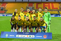 20200310  Calais , France : Brazilian team with Barbara (1)   Antonia (3)   Bruna (4)   Rafaelle (22)   Jucinara (20)   Luana (23)   Andressa (17)   Formiga (8)   Marta (10)   Beatriz (16)   Ludmila (19) pictured during the female football game between the national teams of  Brasil and Canada on the third and last matchday of the Tournoi de France 2020 , a prestigious friendly womensoccer tournament in Northern France , on Tuesday 10 th March 2020 in Calais , France . PHOTO SPORTPIX.BE | DIRK VUYLSTEKE